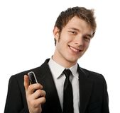 Man with a telephone. In a hand Stock Photography