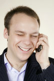 Man with telephone big smile Stock Image