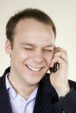 Man with telephone big smile Stock Image