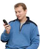 Man with telephone in hand Stock Image