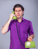 Man with telephone Royalty Free Stock Photo