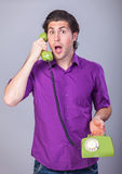 Man with telephone Royalty Free Stock Image