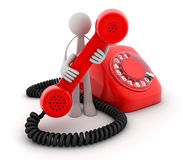 Man and Telephone red. Man and Red old telephone (done in 3d, isolated Stock Images