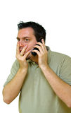 Man on the telephone with surprising news Stock Images