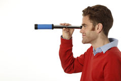 Man with telescope Stock Photography