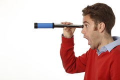 Man with telescope Royalty Free Stock Photos