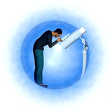 Man with Telescope Royalty Free Stock Image