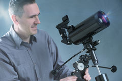 Man with telescope Royalty Free Stock Photography