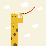 A man with telescope  looking for future business. A man with Telescope on giraffe looking for direction growth vision or future business Stock Photos