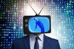 The man with television head in tv addiction concept. Man with television head in tv addiction concept Stock Photos