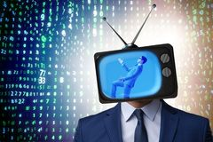The man with television head in tv addiction concept Stock Photos