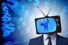 The man with television head in tv addiction concept Stock Images