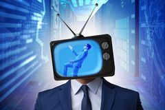 The man with television head in tv addiction concept. Man with television head in tv addiction concept Royalty Free Stock Image