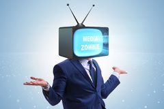 The man with television head in tv addiction concept. Man with television head in tv addiction concept Royalty Free Stock Photos