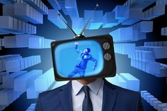 The man with television head in tv addiction concept. Man with television head in tv addiction concept Royalty Free Stock Images