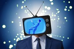 The man with television head in tv addiction concept Stock Photo