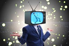 The man with television head in tv addiction concept Royalty Free Stock Images