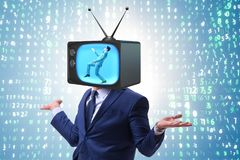 The man with television head in tv addiction concept Stock Image