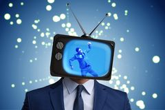 The man with television head in tv addiction concept. Man with television head in tv addiction concept Stock Photo