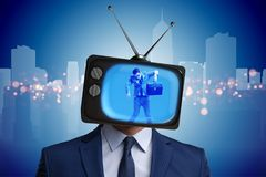The man with television head in tv addiction concept. Man with television head in tv addiction concept Stock Images
