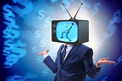 The man with television head in tv addiction concept. Man with television head in tv addiction concept Stock Photography