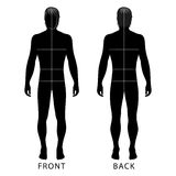 Man template figure. Fashion man full length outlined template figure silhouette with marked body's sizes lines (front & back view), vector illustration isolated Stock Photos