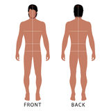 Man template figure. Fashion man full length outlined template figure silhouette with marked body's sizes lines (front & back view), vector illustration isolated Royalty Free Stock Images