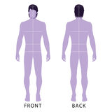 Man template figure. Fashion man full length outlined template figure silhouette with marked body's sizes lines (front & back view), vector illustration isolated Royalty Free Stock Image