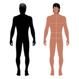 Man template figure. Fashion man full length outlined template figure silhouette with marked body's sizes lines (front view), vector illustration isolated on Royalty Free Stock Image