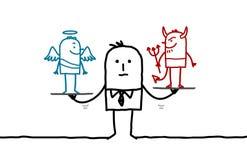 Man & temptation. Hand drawn cartoon characters Royalty Free Stock Photography