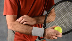 Man with tennis elbow stock video footage