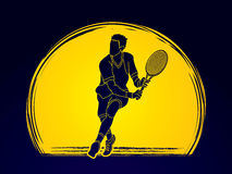 Man tennis player action Stock Image