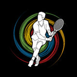 Man tennis player action Stock Photography