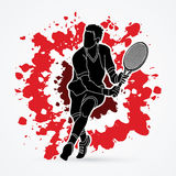 Man tennis player action Stock Images