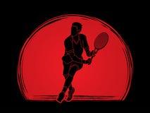 Man tennis player action Stock Photo