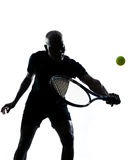 Man tennis player backhand. Man african afro american playing tennis player backhand, on studio isolated on white background Stock Photography