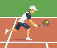 Man tennis player on court. Vector illustration Royalty Free Stock Photo