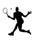 Man tennis player forehand. Man african afro american playing tennis player forehand on studio isolated on white background Royalty Free Stock Images