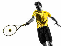 Man tennis player portrait silhouette Royalty Free Stock Photo