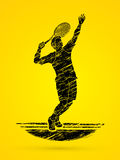 Man tennis player serve. Graphic vector Royalty Free Stock Photo