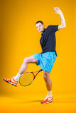 Man, tennis player. Young handsome man tennis player Royalty Free Stock Photos