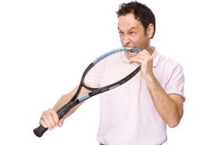 Man with tennis racket Royalty Free Stock Photography
