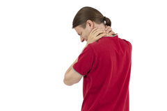 Man with a tense neck Royalty Free Stock Photography