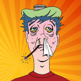 Man with Terrible Flu Symptoms. An image of a man with terrible flu symptoms Royalty Free Stock Image