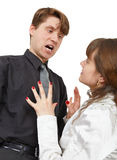 Man terribly shouts at young woman. The man terribly shouts at the young woman is isolated on a white background Stock Photos