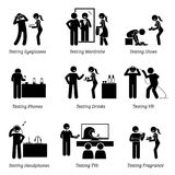 Man testing products at shop. Stick figure pictogram icons depict a person testing eyeglasses, wearing shirt, shoes, footwear, new phones, tasting drinks Royalty Free Stock Photo