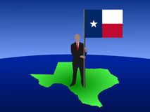 Man on Texas map with flag Royalty Free Stock Image