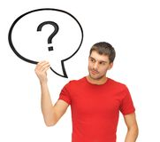 Man with text bubble and question mark Stock Photos