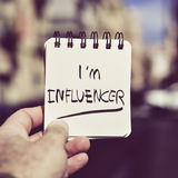 Man and text I am influencer in a note Royalty Free Stock Images