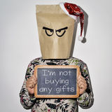 Man and text I am not buying any gifts Royalty Free Stock Images